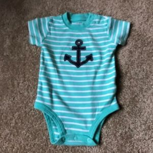 Carter's Green w/White Stripe and Navy Anchor